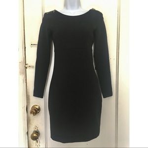 NWOT SZ S Zara Fitted Black Shift Dress 3/4 sleeve